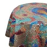 DecoHomeTextil Wachstuch Tischdecke RUND OVAL Farbe & Größe wählbar Mosaik Bunt 130 cm Rund abwaschbare Wachstischdecke