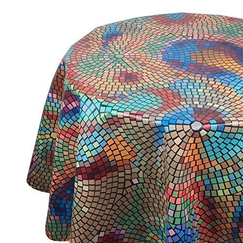DecoHomeTextil Wachstuch Wachstischdecke Tischdecke Größe und Muster wählbar Mosaik Bunt Rund ca. 140 cm abwaschbar Gartentischdecke