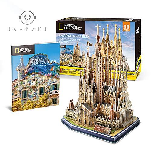 JW-MZPT Puzzle 3D Toy Nacional Geographic Asamblea Hecha a Mano Modelo de Papel de construcción de la Sagrada Familia de Barcelona