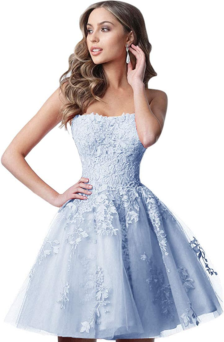 Women's Open Back Strapless Scoop Neck Knee Length Lace Homecoming Dress Short Tulle Prom Dress with Appliques