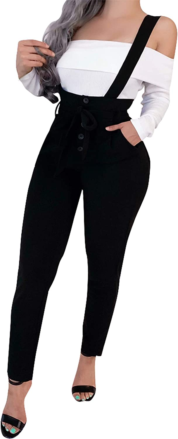 Jumpp Women High Waisted Straight Leg Suspender Pants Slim Pants with Belt Overalls Suspender Pants Trousers