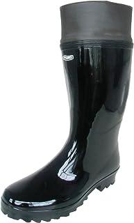 東邦 長靴 雨靴 防水 レインシューズ ハーフ 軽半 防雪 フード 作業長 軽量 ガーデニング 畑仕事 シンプル 1色 メンズ (24.5 cm, 黒)