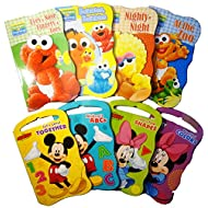 2 Set of Baby Toddler Beginnings Board Books (Sesame Street Set + Mickey Mouse and Friends Set) - Total 8 Books by Bendon