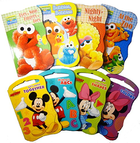 2 Set of Baby Toddler Beginnings Board Books (Sesame Street Set + Mickey Mouse and Friends Set)