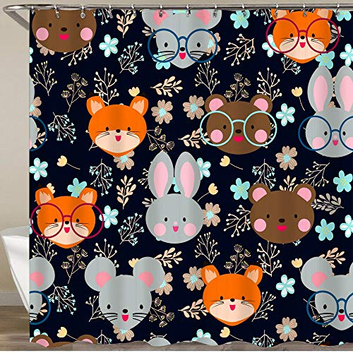 VORMOR Shower Curtain With Hooks,Cute Japanese animal head and herbal teddy bear rabbit fox and mouse,Waterproof Resistant Bathroom Curtain Washable Bath Curtain Polyester Fabric with 12 Hooks