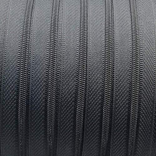 garnimex Endlos-Reißverschluss 3 mm dunkelgrau - 5 m Meterware + 15 Zipper - Farbe 038