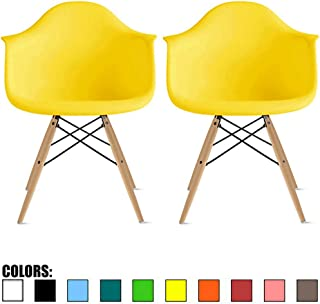 2xhome Set of 2 Yellow Plastic Armchair Natural Wood Legs Eiffel Dining Room Chair Lounge Chair Arm Chair Arms Chairs Seats Wooden Wood Leg Wire Leg (Yellow - Natural Leg)