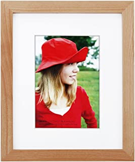 RPJC 8x10 inch Picture Frame Made of Solid Wood and High Definition Glass Display Pictures 5x7 with Mat or 8x10 Without Mat for Wall Mounting Photo Frame Natural