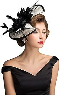 ORIDOOR Women Fascinators Hat Derby Church Tea Party Wedding Caps Bridal Flower Feather Headband Hair Clips Black