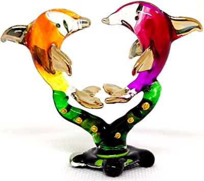 Sansukjai Heart Dolphins W/Seaweed Miniature Figurines Hand Painted Blown Glass Art W/ 22k Gold Trim Animals Collectible Gift Home Decor, Rainbow