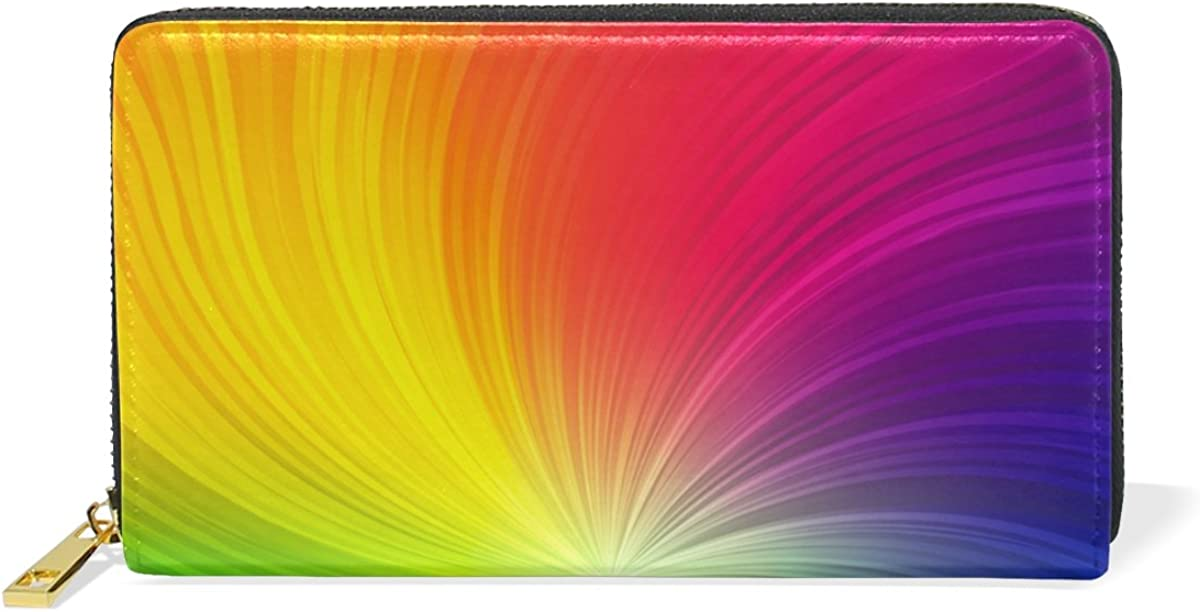 U LIFE Rainbow Colorful Striped Spiral Wallets Purse Cash Card Holder Case Leather