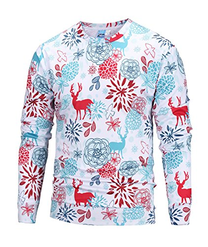 Honeystore Herren Weihnachten Langarmshirt Sweatshirt Niedlich Elche 3D Weihnachts Muster Drucken T-Shirt Blusen Herbst Winter warme Rundhals Pullover Sweatshirt Tops Davidshirsch Rot und Blau XL