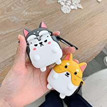 BONTOUJOUR AirPods Case, Super Cute Creative Funny Round Face Sharp Ear Standing Dog AirPods Case, Lovely Puppy Soft Silicone Earphone Protection Skin for AirPods1&2+Hook -Grey Husky
