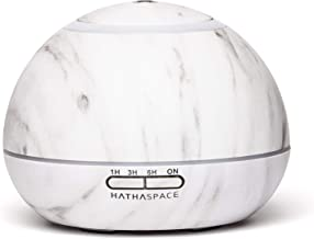 Hathaspace Marble Essential Oil Aroma Diffuser, 350ml Aromatherapy Fragrance Diffuser & Ultrasonic Cool Mist Room Humidifier, 24+ Hour Capacity, 7-Color Mood Light, Intermittent Mode, BPA-Free (White)