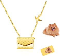 Athak Gepersonaliseerde handtas ketting aangepaste foto tekst envelop gouden hanger meisje Valentijnsdag voor vrouwen