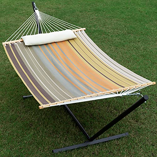 Gafete Waterproof 2 Person Hammock with Stand Included Heavy Duty Textilene Double Hammock with...