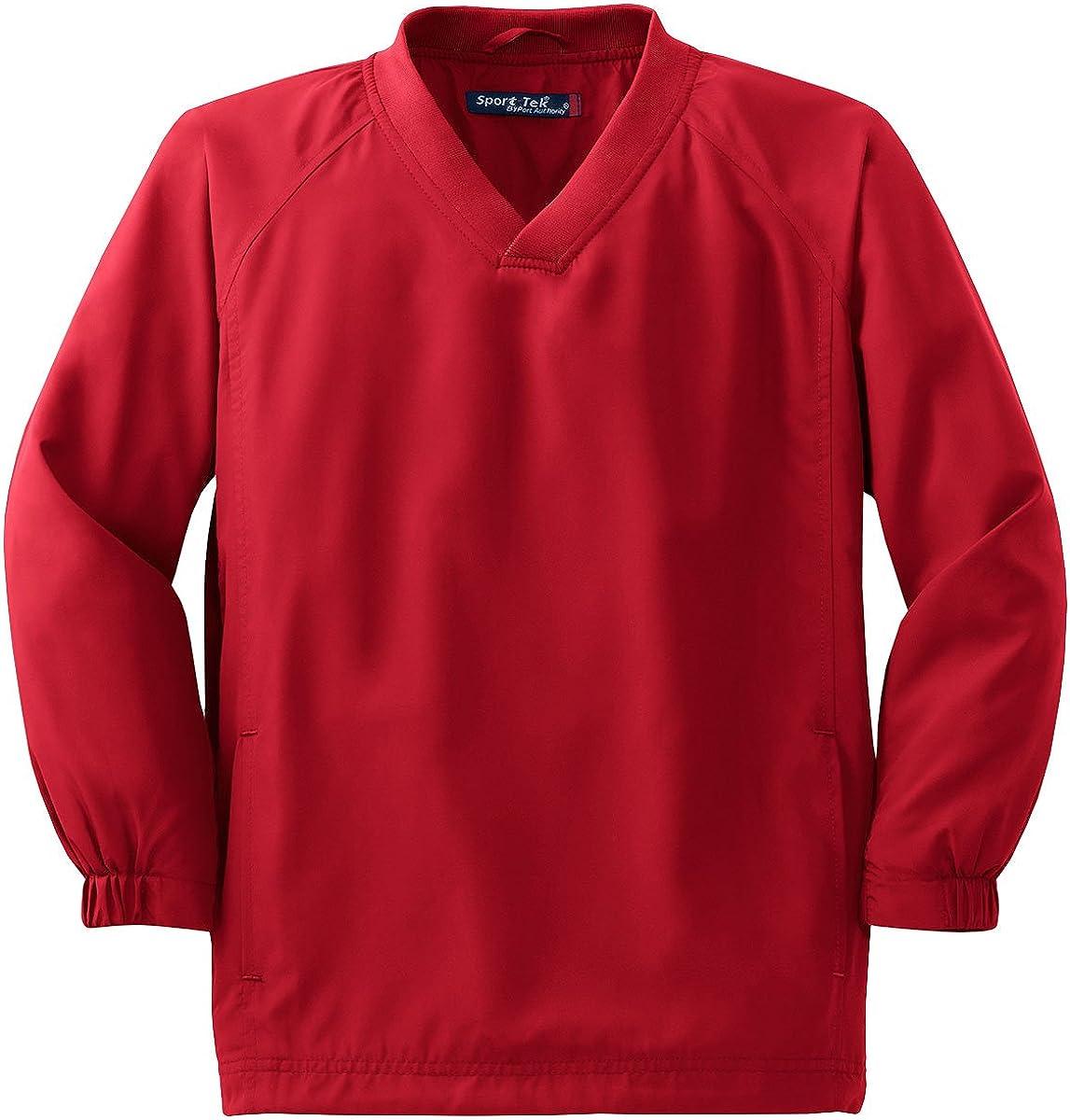 YST72 Youth V-Neck Raglan Wind Shirt True Red M