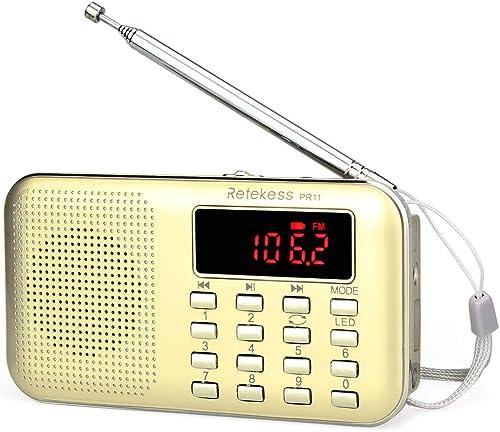 TIVDIO PR11 Am Fm Radio Portable Rechargeable Transistor Radios Small with Headphone Jack Mp3 Music Player Speaker Su...