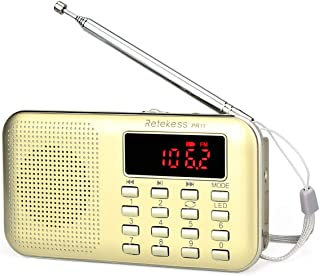 TIVDIO PR11 Am Fm Radio Portable Rechargeable Transistor Radios Small with Headphone Jack Mp3 Music Player Speaker Support...