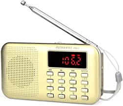 Retekess PR11 AM FM Radio Portable Rechargeable Transistor Radios Small with Headphone Jack MP3 Music Player Speaker Support Micro TF Card (Gold)