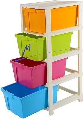 Maharaj Mall 4 XL Plastic Modular Drawer System Multicolor