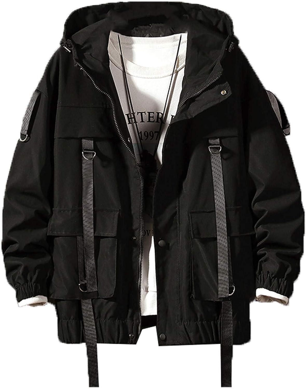 Tealun Men Streetwear Hip Hop Bomber Jacket Harajuku Ribbons Pockets Windbreaker Korean Style Fashions Clothing