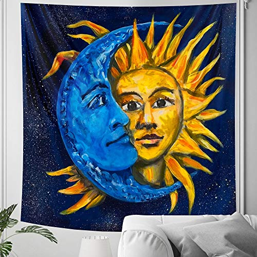 KHKJ Tapiz de Mandala con Luna en Blanco y Negro, decoración para Colgar en la Pared, Dormitorio, Escena psicodélica, decoración artística con luz de Las Estrellas A23 95x73 cm