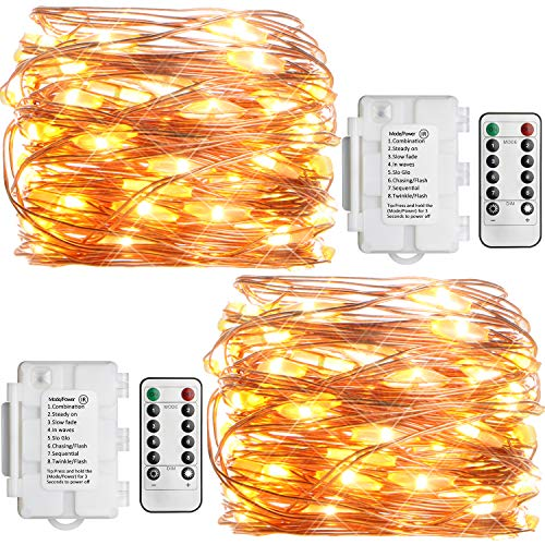 [Remote and Timer] 2 Pack KooPower Fairy Lights Battery Operated, 50 LEDs/23ft Outdoor Fairy Lights 8 Mode Waterproof Copper Wire String Lights for Christmas Wedding Party Bedroom Garden(Warm White)