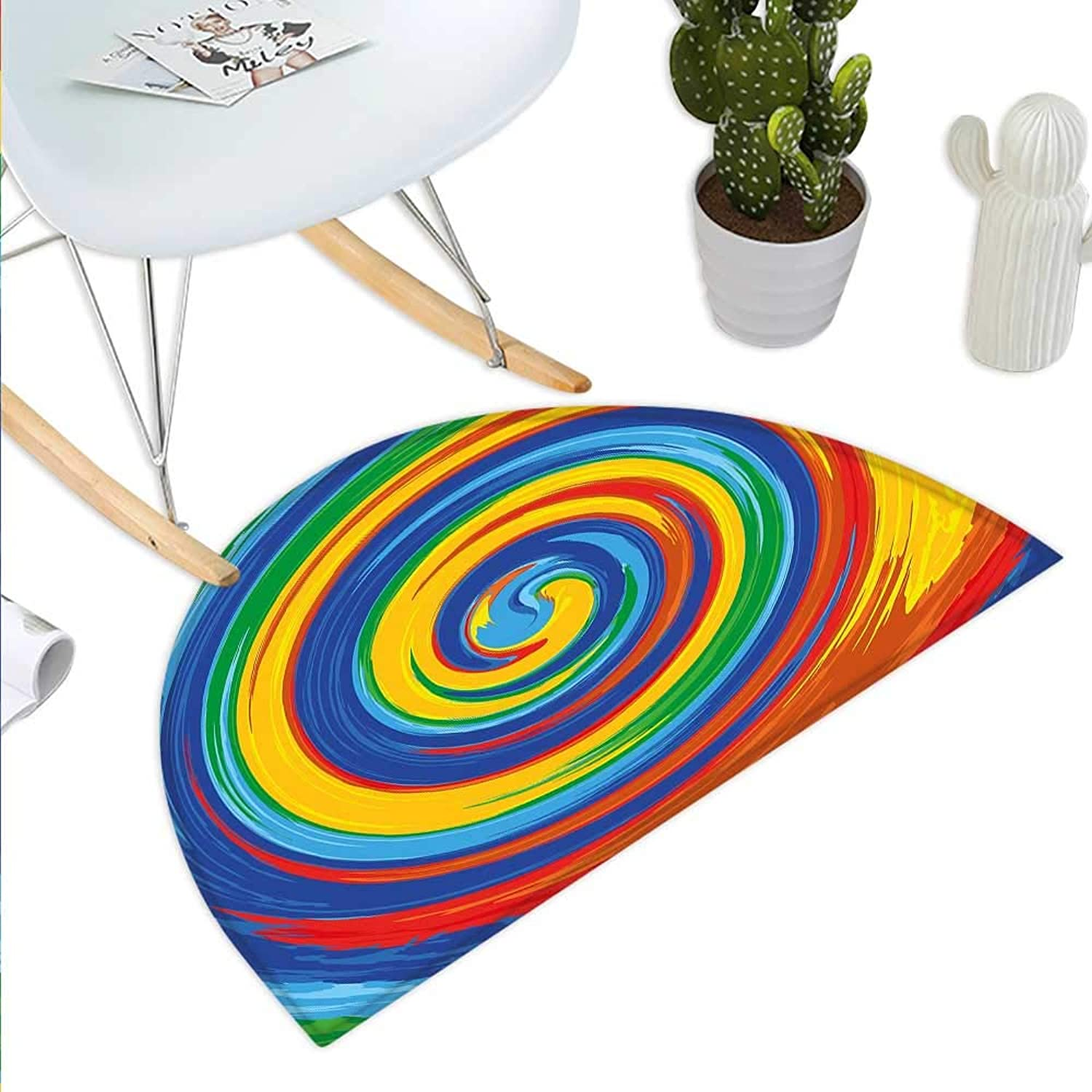 Rainbow Semicircle Doormat Vivid Swirls Whirlpool Rainbow colord Hand Drawn Artwork Optical Illusions Grunge Halfmoon doormats H 31.5  xD 47.2  Multicolor