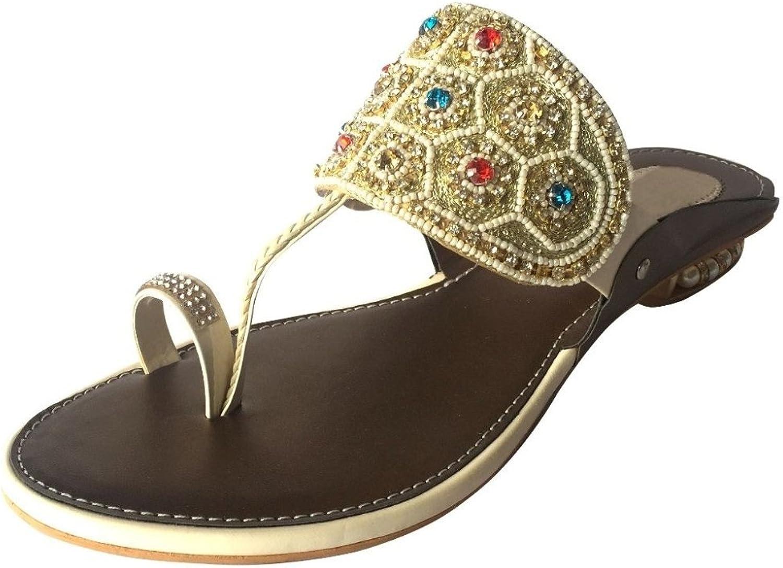 Step n Style Ladies Cream Multi Kolahpuri Style Crystal Work Slip-On