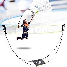 Badmintonnet, draagbaar badmintonnet voor tuin en standaard, draagtas, volleybalnet voor binnen en buiten, strandsport (ge...