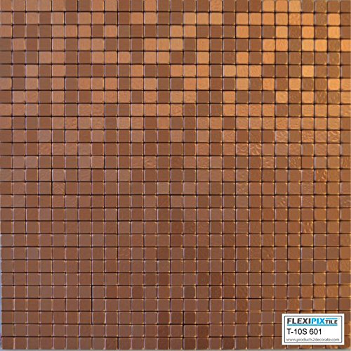 Flexipixtile Mosaik-Fliesen, Aluminium, zum Abziehen und Aufkleben, Spritzschutz, Akzent-Wand, Kupfer-Münze Pack of 4 kupfer