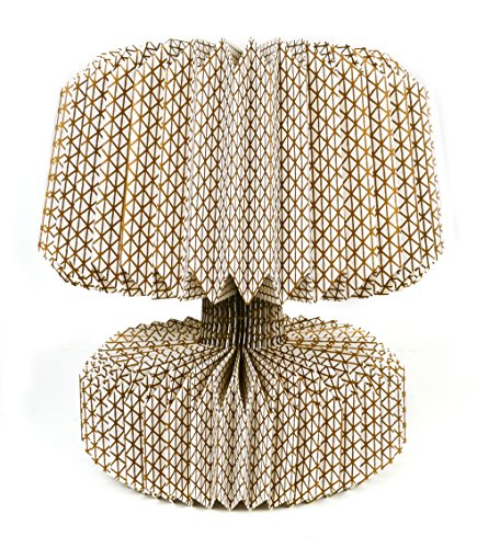Pusher Origami - Lámpara geométrica, de Papel, marrón, 23x 23x 35cm