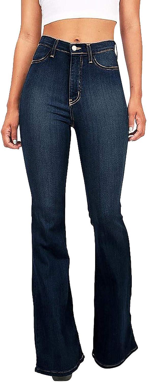 Handyulong Women's Juniors Bell Bottom High Waist Fitted Denim Jeans Plus Size Stretchy Denim Pants Flare Sweatpants