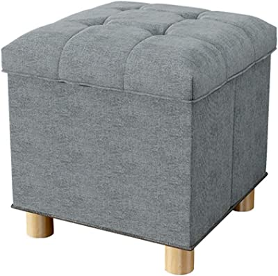 Xuhuizi Durable Practical Ottoman Storage Stool Upholstered Footrest Highly Elastic Sponge Filling Single Footstool Seat with Four Solid Wood Feet Removable Lid Max.100KG(Gray)