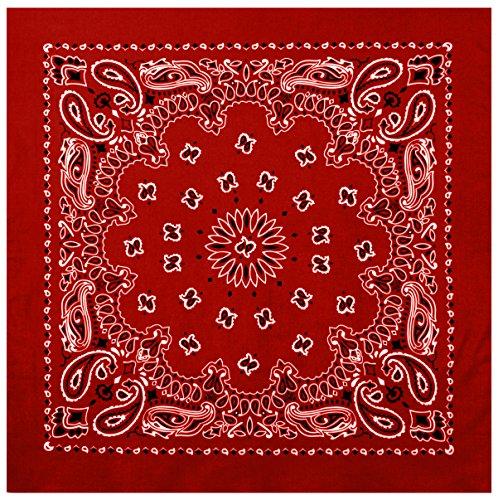 "Rothco Trainmen Paisley Bandana – Extra-Large 27"" X 27"", Red/White"