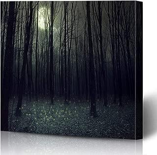 Ahawoso Canvas Prints Wall Art Printing 12x16 Mystery Blue Night Moon Darkness Autumn Foggy Forest Woods Nature Path Dark Full Mist Sky Black Painting Artwork Home Living Room Office Bedroom Dorm