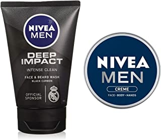 NIVEA Men Face Wash, Deep Impact Intense Clean, 100g & NIVEA Men Moisturiser, Cream, 75ml