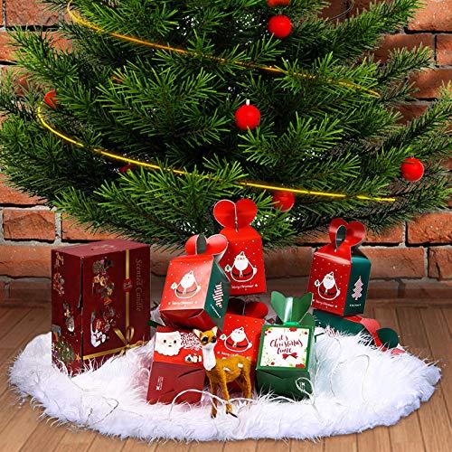 90cm Weihnachtsbaum Decke Weiß Weihnachtsbaum Rock Plüsch- Christbaumdecke Rund Christbaumständer Teppich Decke zum Schutz vor Tannennadeln Weihnachten Deko Christbaumständer Weihnachtsbaum Dekoration