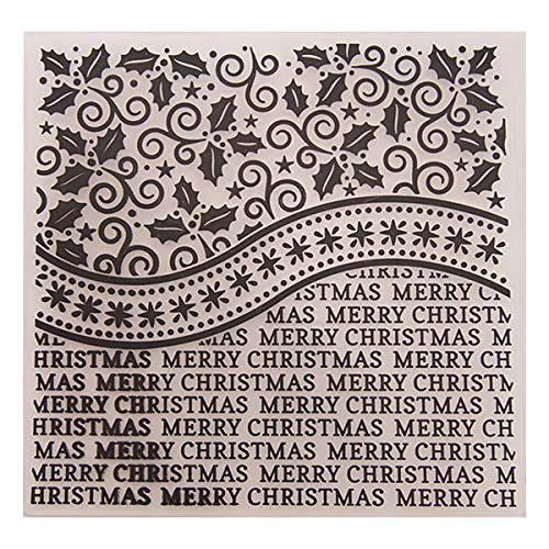 Kwan Crafts Merry Christmas Leaves Plastic Embossing Folders for Card Making Scrapbooking and Other Paper Crafts, 15x15cm