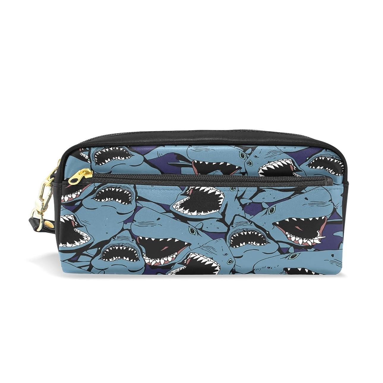 居住者引数刑務所ALAZA サメ 鉛筆 ケース ジッパー Pu 革製 ペン バッグ 化粧品 化粧 バッグ ペン 文房具 ポーチ バッグ 大容量