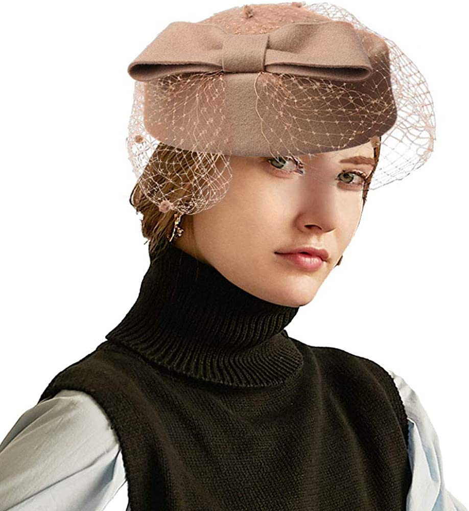 F FADVES Women Wool Limited Special Price Fascinator Wedding Pillbox Tea Party specialty shop Hat