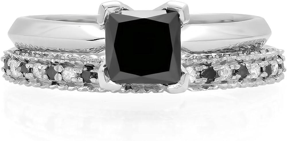 Dazzlingrock Collection 1.50 Carat (ctw) 14K Gold Princess Cut Black & Round White Diamond Bridal Engagement Ring Set 1 1/2 CT