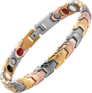 Womens Tri Colour Gold Four Element Magnetic Titanium Bracelet + Free Link Removal Tool