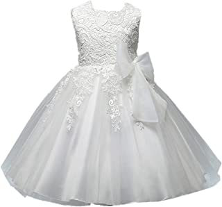 Flower Girls Dress Lace Embroidered Sleeveless Princess Pageant Gown Ivory