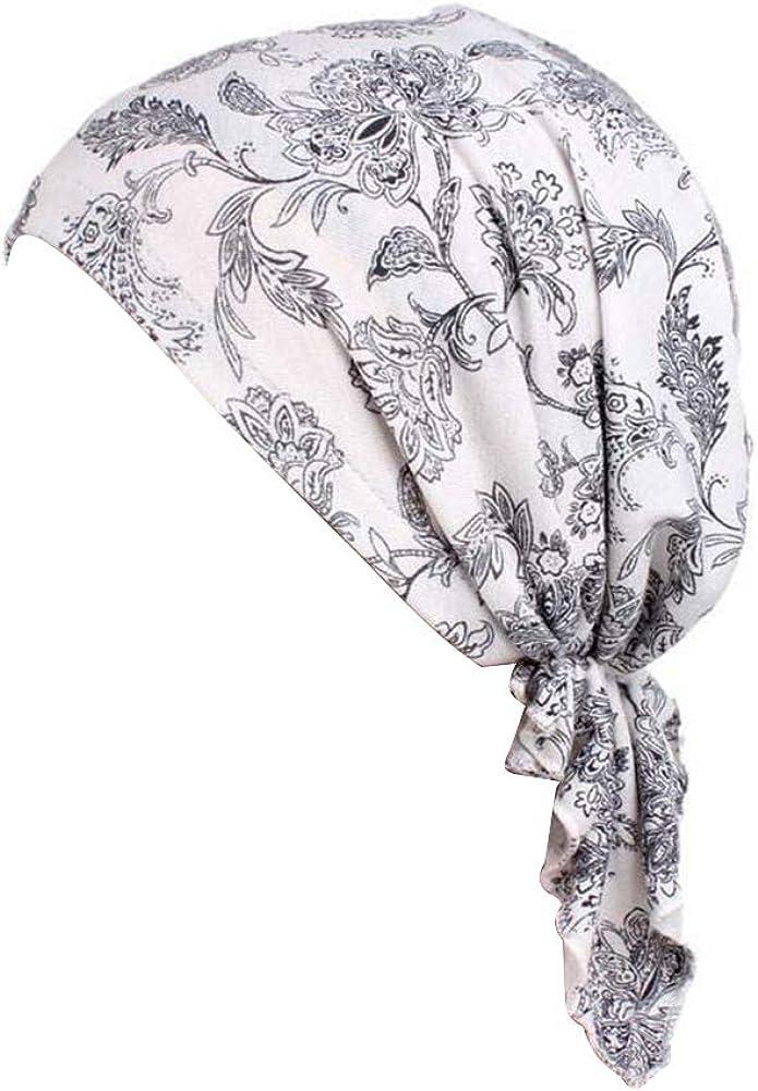Nippon regular agency beauty YFJH Women Stretch Cotton Headwear Turban Hat Lowest price challenge Print Sleep