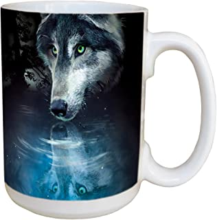 Tree-Free Greetings Wolf Reflection 15 Ounce Ceramic Coffee Mug with Full Sized Handle