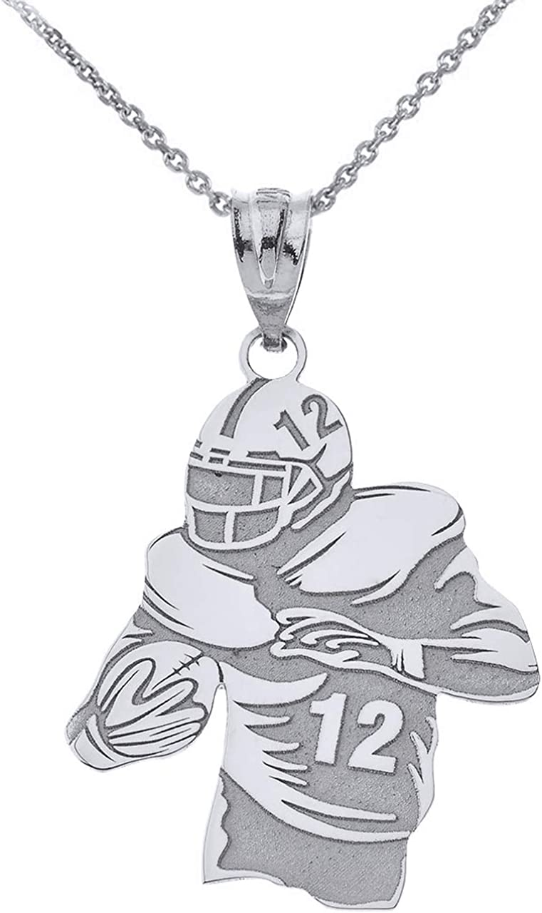Sports Virginia Beach Mall Charms 925 Sterling Personalized Max 57% OFF Football Necklace Player