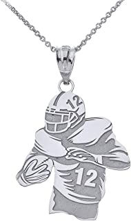 Sports Charms 925 Sterling Personalized Football Player Necklace with Your Name and Number