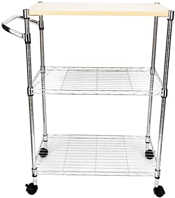 Chilling Station 3 Tier Wire Mesh Kitchen Trolley - Storage Shelving Unit - Bar Serving Cart Free Standing Display Organizer with Wheels - Heavy Duty Carbon Steel